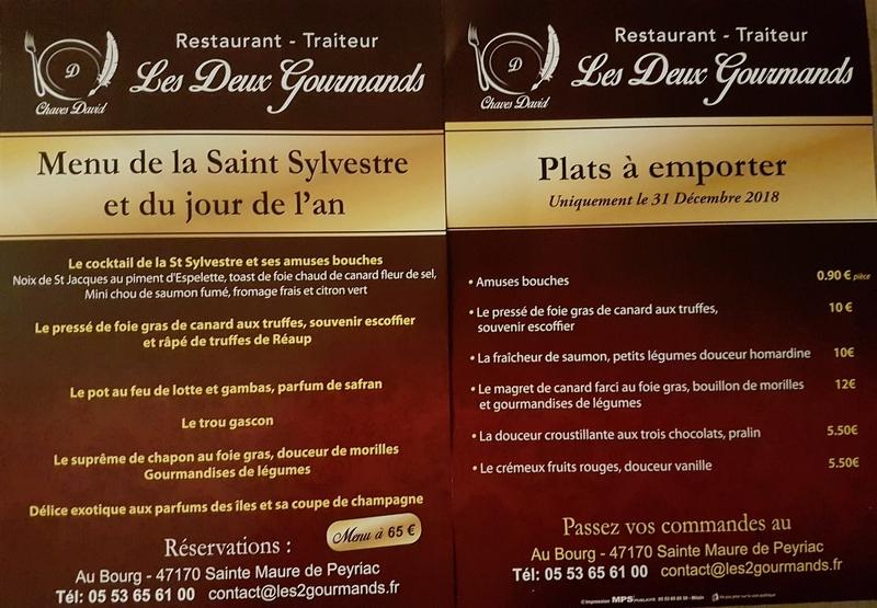 Affiche Menu de la Saint Sylvestre et du jour de lan Les Deux Gourmands