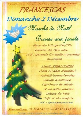 Affiche marché de Noël Francescas