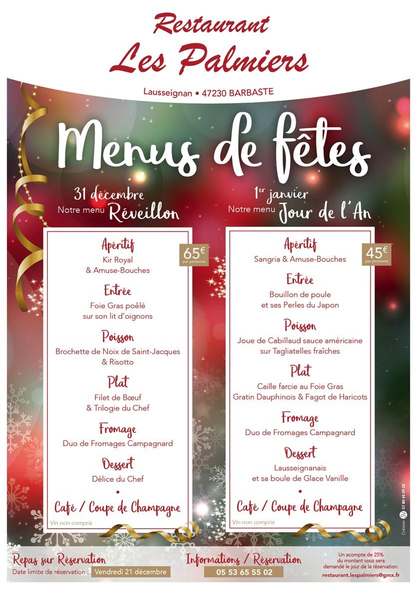 Affiche menus de fêtes Les Palmiers