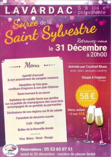 Affiche soirée saint sylvestre lavardac