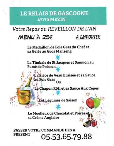 Menu Reveillon au Relais de Gascogne
