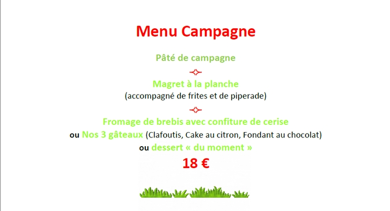 Menu Campagne Contes dAlbret