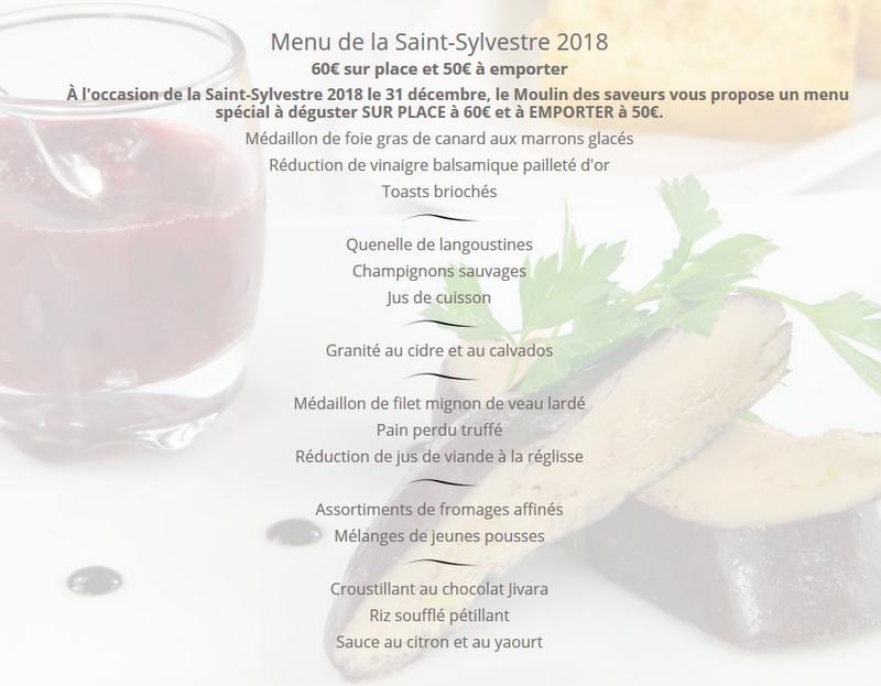 Menu Saint Sylvestre Moulin des Saveurs
